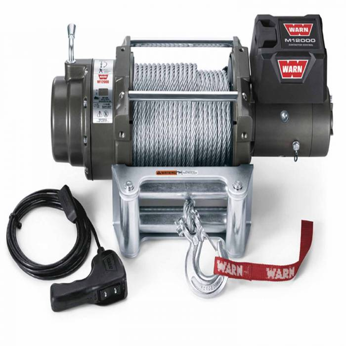 Warn - Warn 12 Volt Elect 12000 LB Cap 125 Ft Rope Roller Fairlead Wired Remote 17801