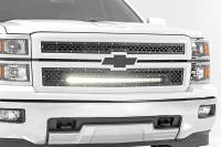 Exterior - Grilles - Rough Country - Rough Country Chevy Mesh Grille w/30in Black Series LED (14-15 Silverado 1500) 70103