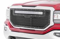 Exterior - Grilles - Rough Country - Rough Country GMC Mesh Grille w/30in Dual Row Black Series LED (16-18 Sierra 1500) 70158
