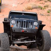 Rock Slide Engineering - Rock Slide Engineering - Jeep JK Shorty Front Bumper For 07-18 Wrangler JK With Winch Plate No Bull Bar Rigid Series - FB-S-101-JK
