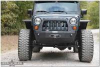 Exterior - Bumpers & Parts - Rock Slide Engineering - Rock Slide Engineering - Jeep JK Shorty Front Bumper For 07-18 Wrangler JK Complete With Winch Plate Rigid Series - FB-S-100-JK