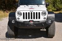 Exterior - Bumpers & Parts - Rock Slide Engineering - Rock Slide Engineering - Jeep JK Full Front Bumper For 07-18 Wrangler JK With Winch Plate No Bull Bar Black Powdercoated Rigid Series - FB-F-101-JK