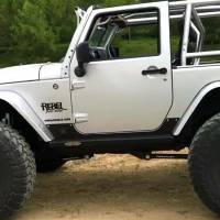 Rock Slide Engineering - Rock Slide Engineering - Step-Slider Rocker Guards For 07-18 Wrangler JK 2 Door - AX-SS-RG-JK2