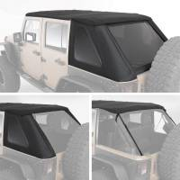 Exterior - Soft Tops - Smittybilt - Smittybilt - Jeep JKU Bowless Top w/Tinted Windows Combo 2007-2018 Wrangler JK Unlimited 4-DR Black Diamond - 9083135K