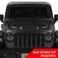 Engine and Performance - Gaskets & Accessories - S&B Filters - S&B Filters - Air Hood Scoop System for 18-20 Wrangler JL Rubicon 2.0L, 3.6L, 2020 Jeep Gladiator 3.6L S&B Intake Required - AS-1014