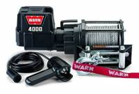 Warn - Warn 12 Volt 4000 LB Cap 43 Ft Wire Rope Roller Fairlead Planetary Gear Drive 94000